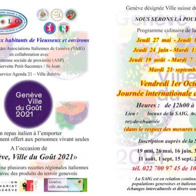 """La SAIG aderisce al Progetto """"Genève, Ville du Goût 2021"""""""